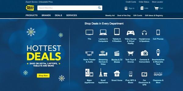 Раздел «Самые горячие предложения» с разбивкой по категориям на сайте Best Buy