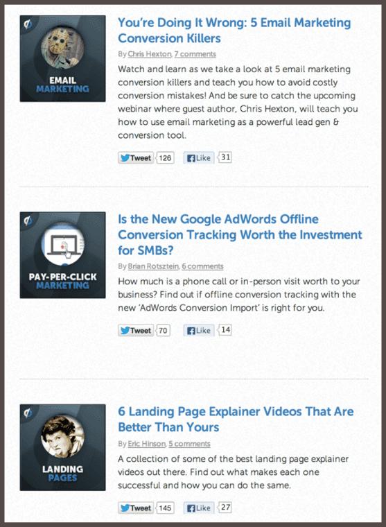 Скриншот из блога маркетинговой платформы Unbounce. Взгляните, сколько действий в социальных сетях вызвали посты, написанные приглашенными авторами.