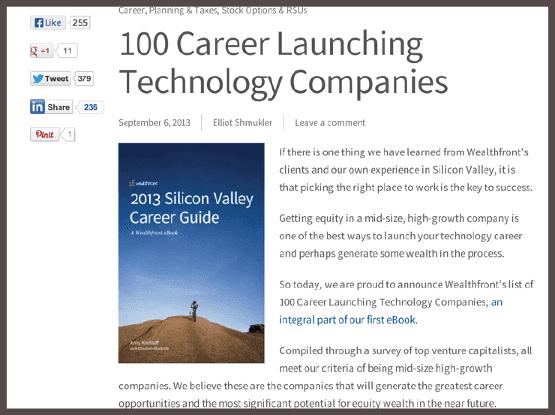 В посте, озаглавленном «100 карьер, начавшихся в технологических компаниях», анонсируется выход книги «Руководство по карьерному росту в Кремниевой долине».