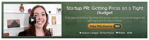 Название курса, который читает Эрика: «Как заполучить внимание прессы, располагая скромным бюджетом»