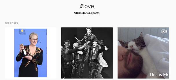 #love — самый популярный хэштег Инстаграма: его содержит более 988 000 000 постов.