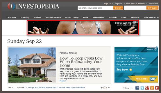 пример баннерной CPM-рекламы на сайте investopedia.com