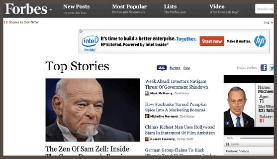 Вот как выглядит дисплейная реклама на сайте Forbes (см. баннер от HP в верхней части).