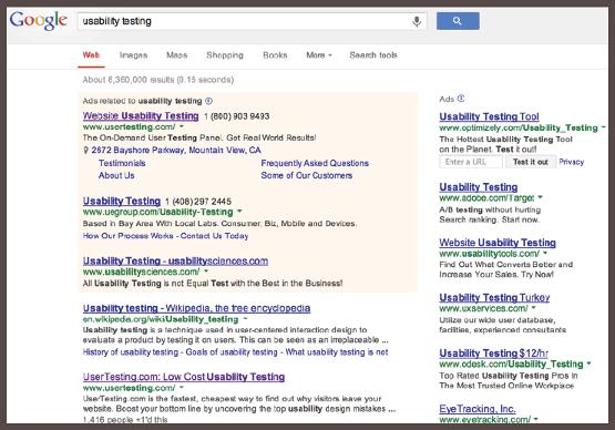 пример PPC-объявления с таргетингом на ключевые слова «юзабилити-тестирование»