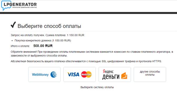 После этого вы будете перенаправлены на страницу, где сможете выбрать подходящий способ оплаты и оплатить домен