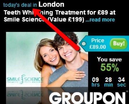 Лондонский партнер сервиса Groupon предлагает отбелить зубы со скидкой 55%