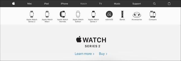 Ссылка на сравнительную таблицу расположена во вторичном меню наряду с продуктовой линейкой Apple Watch.
