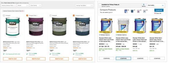 На сайте homedepot.com (слева) товары для сравнения отмечаются флажком, на сайте lowes.com (справа) предусмотрена кнопка «сравнить».