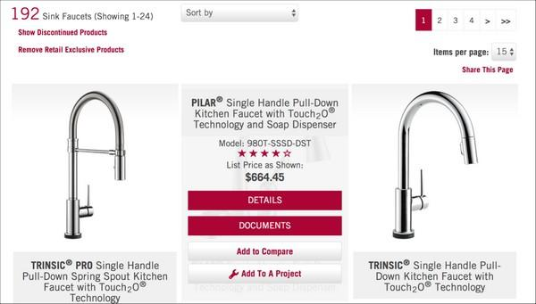 На сайте delta.com кнопка, позволяющая произвести сравнение, становится видна только при наведение курсора на карточку продукта