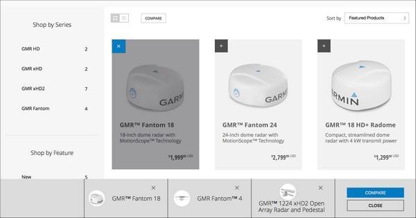 На веб-сайте garmin.com в верхней части страницы со списком продуктов расположена специальная кнопка (Compare).