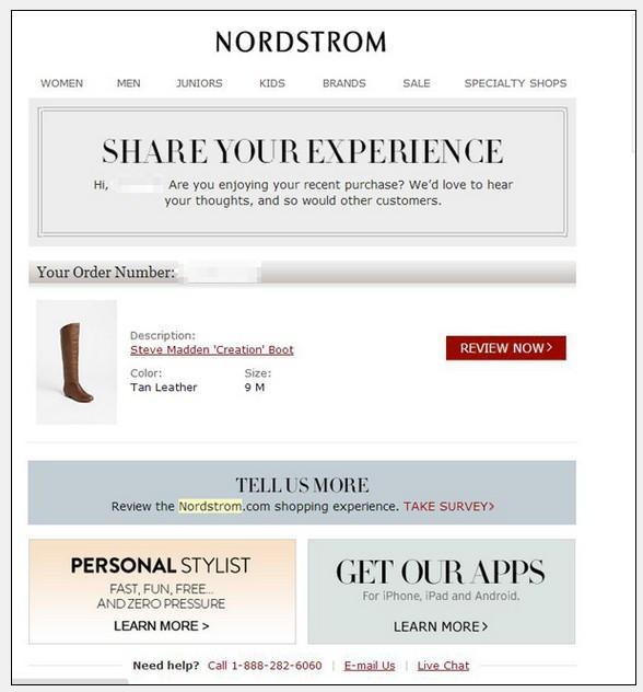 Еще один прекрасный пример Nordstrom, как собирать отзывы и улучшать социальное доказательство