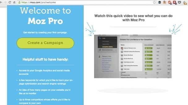 «Добро пожаловать в Moz Pro. Начните работу с сервисом, создав свою первую кампанию».