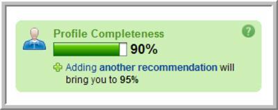 Прогресс заполнения профиля в сети профессиональных контактов LinkedIn