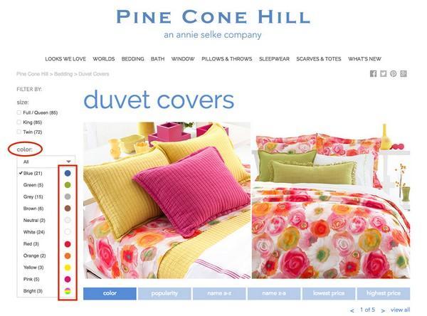 Во второй версии страницы дизайнеры выдвинули на первый план варианты расцветок