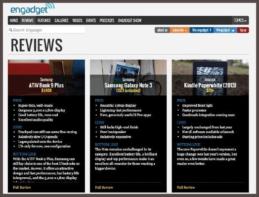 Обзоры сторонних авторов, опубликованные в популярном технологическом блоге Engadget