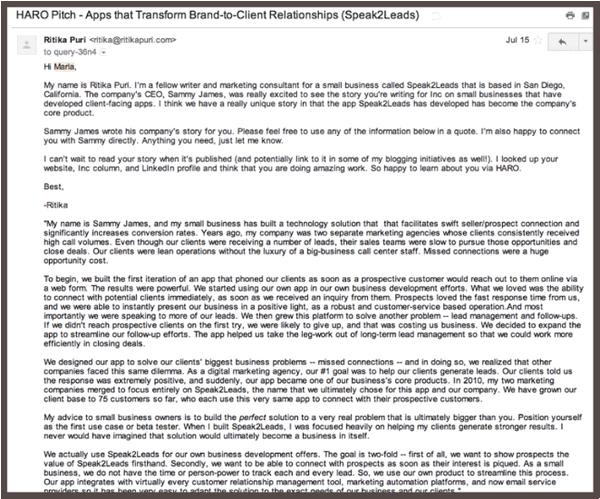 Письмо с текстом анонса приложения Speak2Leads, написанным Ритикой Пури от имени Сэмми Джеймса (Sammy James, владелец компании) и предназначенным для публикации в журнале Inc (полный вариант приведен ниже).