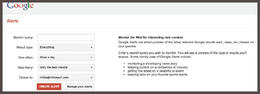 Панель настройки Google Alerts
