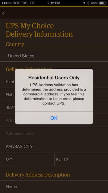 Приложение My Choice от службы доставки UPS app отображало сообщение об ошибке, когда пользователь вводил адрес, отличный от его домашнего.