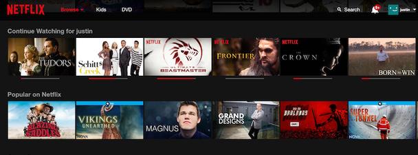 Netflix отдельно показывает список программ, которые пользователь не успел досмотреть