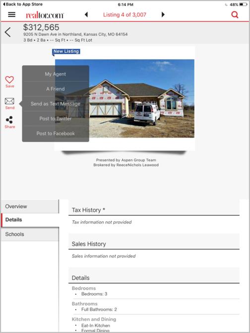При использовании iPad-приложения от Realtor.com варианты недвижимости можно отправить себе по email или SMS