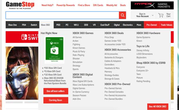 Мегаменю компании The GameStop.com