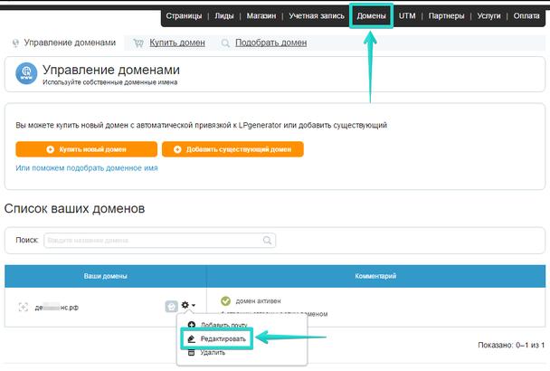 В списке доменов нажмите на значок шестеренки, напротив доменного имени и в выпадающем списке кликните по пункту «Редактировать».