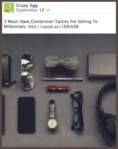 На странице Facebook компании Crazy Egg размещена ссылка на статью «3 тактики, необходимые для того, чтобы продавать миллениалам», опубликованную в блоге Buffer