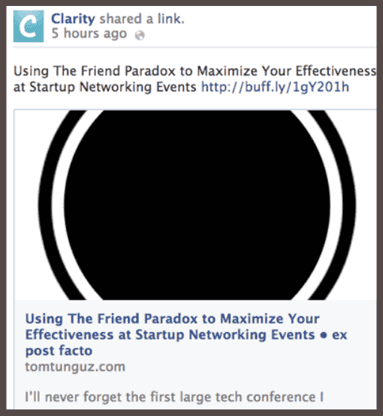 Clarity размещает на своей странице Facebook ссылки на избранные статьи
