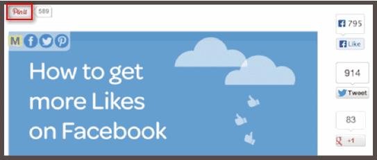 Социальный виджет Pinterest на странице с инфографикой (выделен красным).