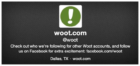 В ленте Twitter торговой платформы Woot.com опубликовано предложение читать страницу компании в Facebook