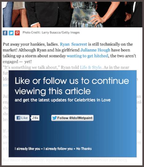 """Призыв к действию на странице Facebook: «Ставь """"Like"""" или следуй за нами, чтобы продолжить просмотр этой статьи»."""