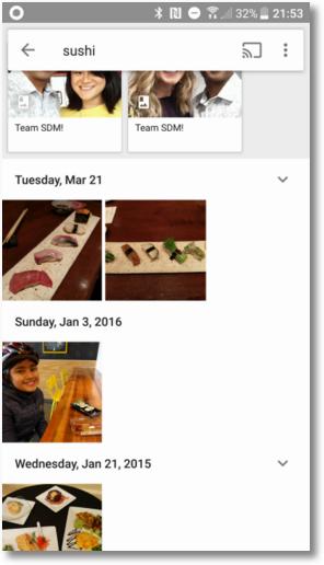 Допустим, вы ищете фотографии суши/роллов. Просто набираете «суши» — и бум