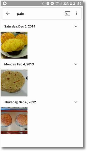Чтобы испытать Google Photos, было введено слово на другом языке — pain (фр. хлеб)