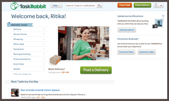 Профиль участника TaskRabbit