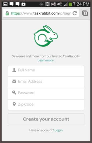 Мобильная веб-форма для регистрации на сайте TaskRabbit