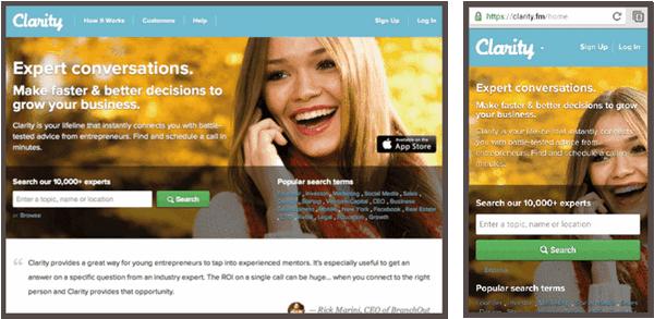 Главная страница сайта Clarity: вариант для десктопа (слева) и вариант для мобильных устройств (справа).