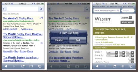 Пользователь, кликнув по ссылке в объявлении Google, получает возможность нажать кнопку и позвонить продавцу для оформления заказа (нижний скриншот).