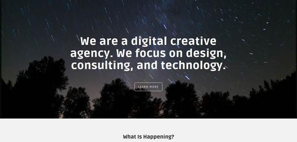 «Мы — цифровое креативное агентство. Мы сфокусированы на дизайне, консалтинге и технологиях». Увы, но лендинг слишком пространный. Он не привлечет внимания пользователей