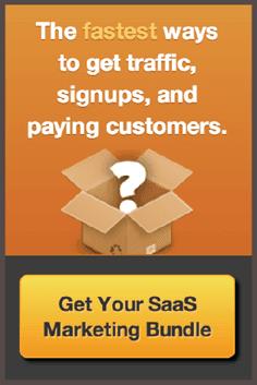 Размещенный в блоге KISSmetrics рекламный баннер с предложением получить пакет инструментов SaaS Marketing Bundle