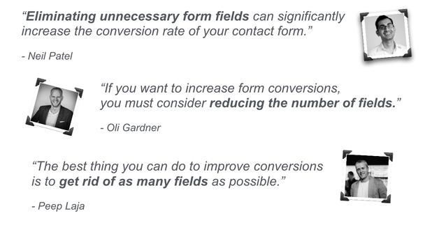 Принято считать, что уменьшение количества полей для заполнения в лид-форме способно повысить число лидов.