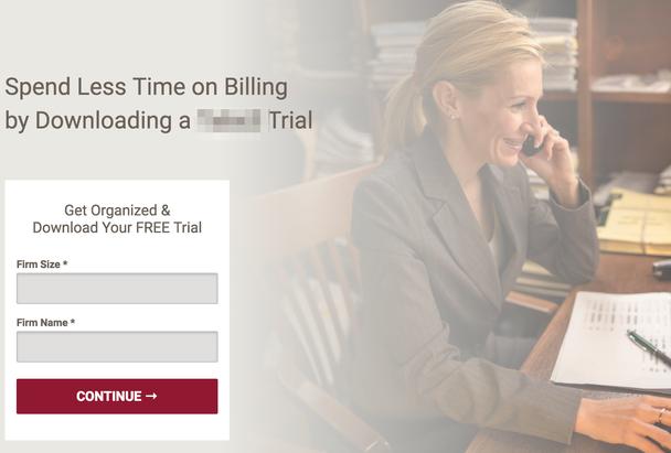 «Тратьте меньше времени на биллинг, загрузив триал». Поля формы: размер и название компании.