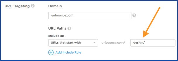 Правило URL-таргетинга для категории «Дизайн». Правило «include» автоматически исключает наложение из других категорий.