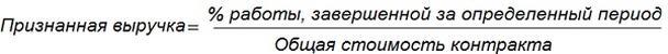 Подсчитать признанную выручку можно по этой формуле