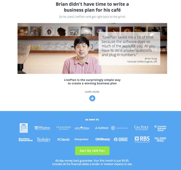 У Брайана не было времени писать бизнес-план для своего кафе. Поэтому он воспользовался LivePlan и сразу же вернулся к работе.