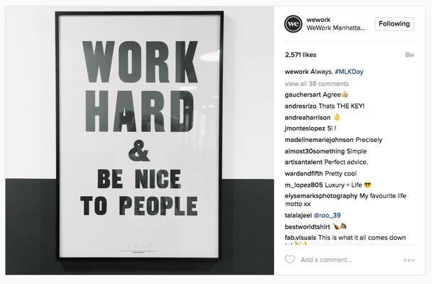 @WeWork в Инстаграм: «Много работай и будь добр к людям»