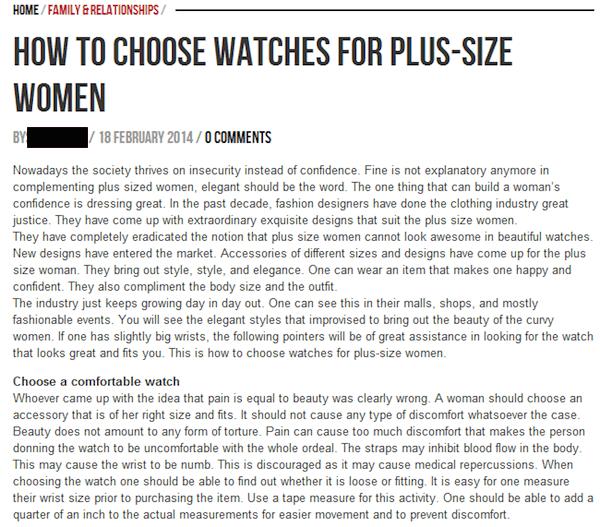 Как выбрать часы для женщины размера plus-size