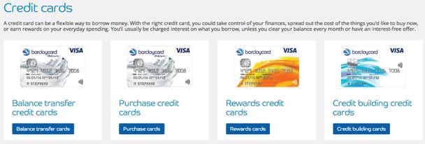 разные типы кредитных карт