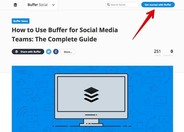 Призыв к действию: «Начать работать с Buffer»