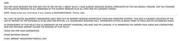 Письмо, в котором начальник сектора управления ARPAnet выражает неодобрение инициативой Туэрка и приказывает ему впредь не осуществлять подобные рассылки