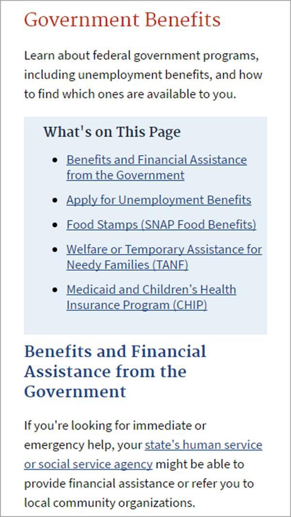 Ссылки в верхней части страницы сайта правительства США дают полное представление о ее содержимом